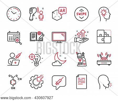 Vector Set Of Science Icons Related To Medical Calendar, Vaccination Appointment And Cough Icons. Au