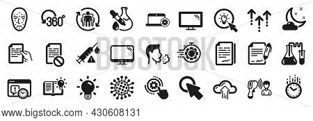 Set Of Science Icons, Such As Night Weather, Project Deadline, Light Bulb Icons. Chemistry Lab, Time