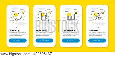 Vector Set Of Star Rating, Column Chart And Talk Bubble Line Icons Set. Ui Phone App Screens With Li