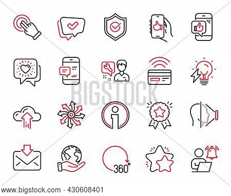 Vector Set Of Technology Icons Related To Face Id, Contactless Payment And User Notification Icons.
