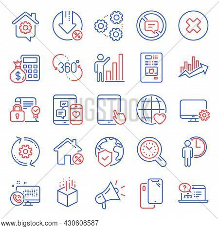 Technology Icons Set. Included Icon As Finance Calculator, Social Media, Graph Chart Signs. Web Call