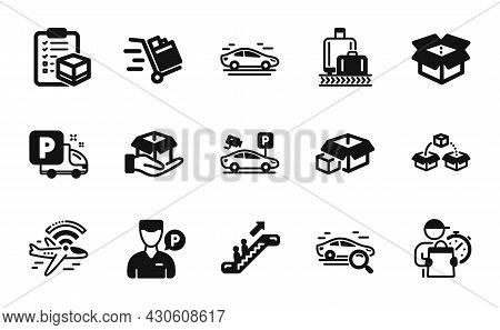 Vector Set Of Parcel Shipping, Parking Security And Packing Boxes Icons Simple Set. Delivery Man, Ai