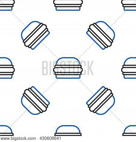 Line Burger Icon Isolated Seamless Pattern On White Background. Hamburger Icon. Cheeseburger Sandwic