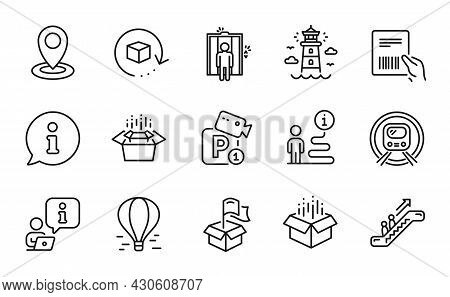 Transportation Icons Set. Included Icon As Escalator, Packing Boxes, Return Package Signs. Elevator,
