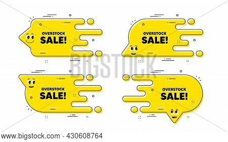Overstock Sale Text. Cartoon Face Transition Chat Bubble. Special Offer Price Sign. Advertising Disc