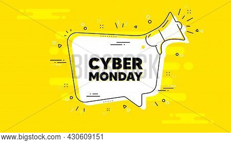Cyber Monday Sale Text. Alert Megaphone Yellow Chat Banner. Special Offer Price Sign. Advertising Di