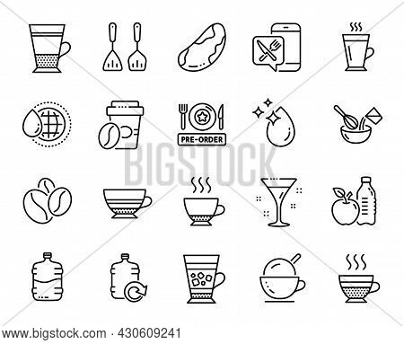 Vector Set Of Takeaway Coffee, World Water And Refill Water Line Icons Set. Espresso, Coffee Beans A