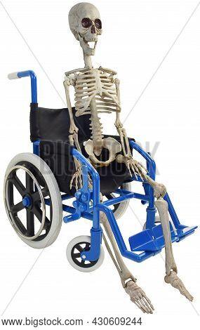 Skeleton In Blue Wheelchair Three Quarter View
