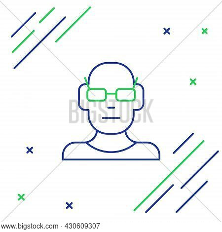 Line Poor Eyesight And Corrected Vision With Optical Glasses Icon Isolated On White Background. Colo