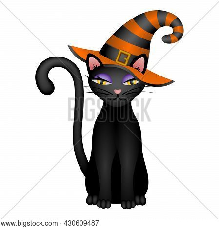 Halloween Black Cat With Black And Orange Witch Hat