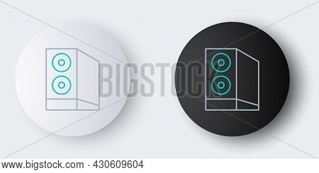 Line Case Of Computer Icon Isolated On Grey Background. Computer Server. Workstation. Colorful Outli