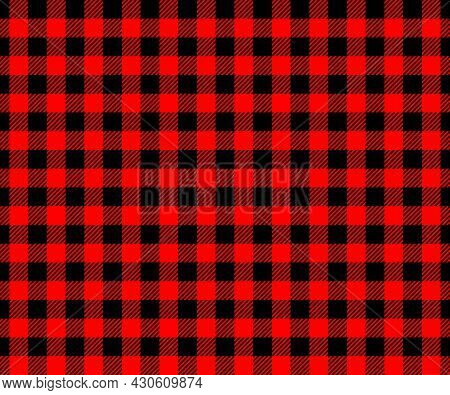 Red And Black Buffalo Plaid Texture. Checkered Lumberjack Seamless Pattern. Geometric Fabric Backgro