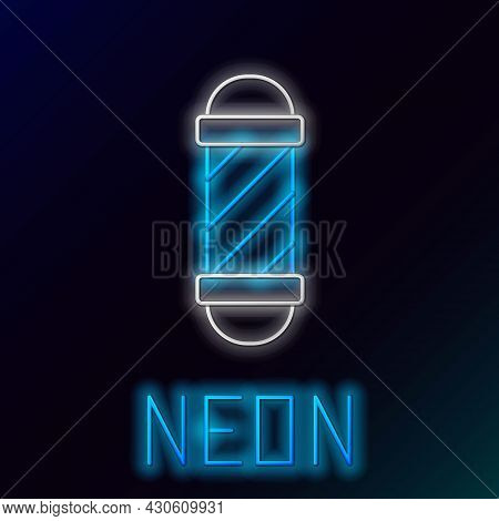Glowing Neon Line Classic Barber Shop Pole Icon Isolated On Black Background. Barbershop Pole Symbol