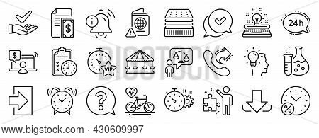 Set Of Business Icons, Such As Download, Strategy, Vip Timer Icons. Alarm Clock, 24h Service, Exam T