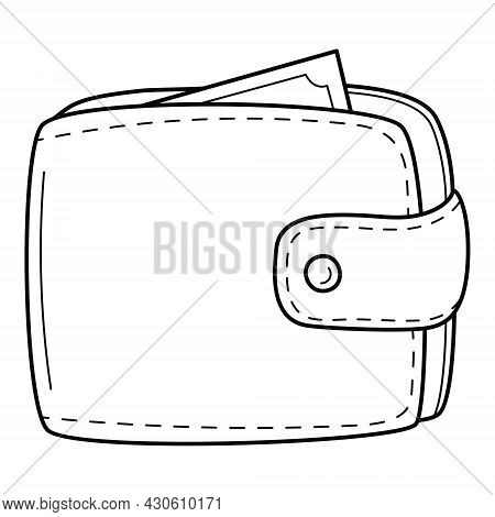 Men's Wallet For Cash, Purse. Linear Icon. Hand-drawn Black And White Vector Illustration. Isolated
