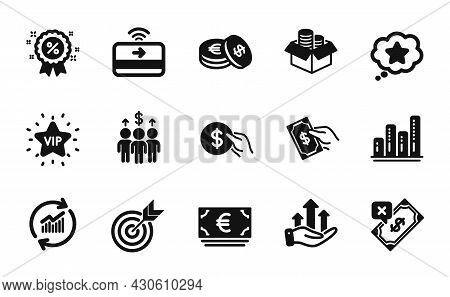 Vector Set Of Meeting, Graph Chart And Money Box Icons Simple Set. Update Data, Savings And Loyalty