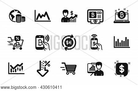 Vector Set Of Money Currency, Bitcoin Pay And Phone Payment Icons Simple Set. Financial Diagram, Pre