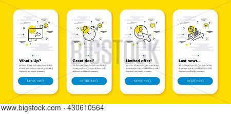 Vector Set Of Target Path, User And Alarm Clock Line Icons Set. Ui Phone App Screens With Line Icons