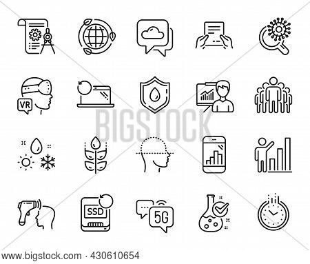 Vector Set Of Recovery Laptop, 5g Internet And Coronavirus Research Line Icons Set. Chemistry Lab, E