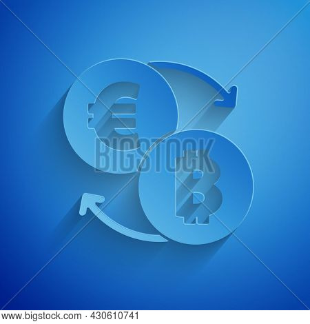 Paper Cut Cryptocurrency Exchange Icon Isolated On Blue Background. Bitcoin To Euro Exchange Icon. C