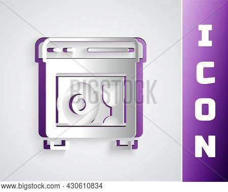 Paper Cut Kitchen Dishwasher Machine Icon Isolated On Grey Background. Paper Art Style. Vector