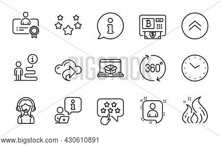 Technology Icons Set. Included Icon As Cloud Share, Developers Chat, Bitcoin Atm Signs. Time, Stars,