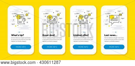 Vector Set Of Analytics Graph, Report And Employees Wealth Line Icons Set. Ui Phone App Screens With