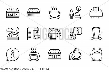 Interiors Icons Set. Included Icon As Cappuccino, Flexible Mattress, Coffee Cup Signs. Coffee Machin