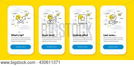Vector Set Of Intersection Arrows, Loyalty Ticket And Third Party Line Icons Set. Ui Phone App Scree