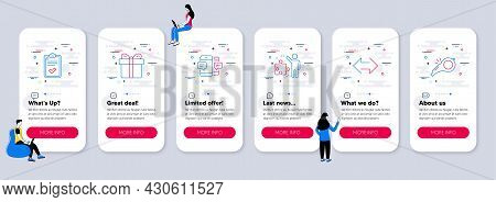 Set Of Line Icons, Such As Smartphone Sms, Gift Box, Checklist Icons. Ui Phone App Screens With Team