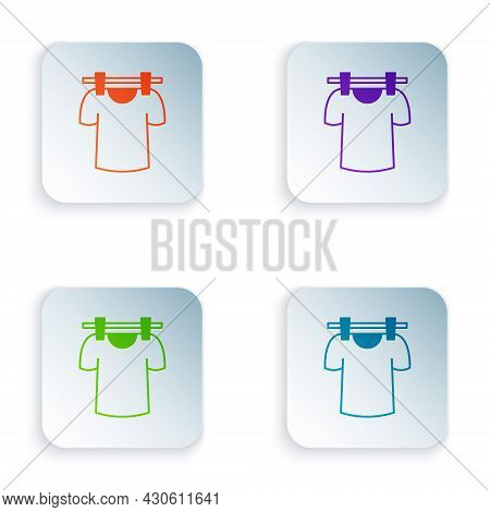 Color Drying Clothes Icon Isolated On White Background. Clean Shirt. Wash Clothes On A Rope With Clo