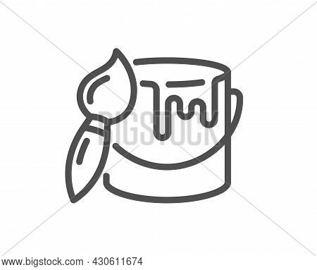 Paint Brush Line Icon. Wall Paintbrush Sign. Tin Of Acrylic Paint Symbol. Quality Design Element. Li