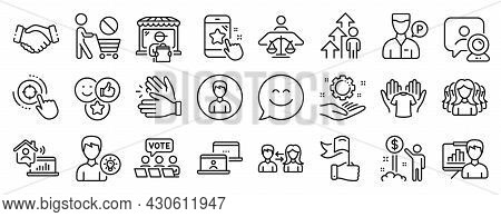 Set Of People Icons, Such As Star Rating, Smile Chat, Person Idea Icons. Court Judge, Delivery Marke