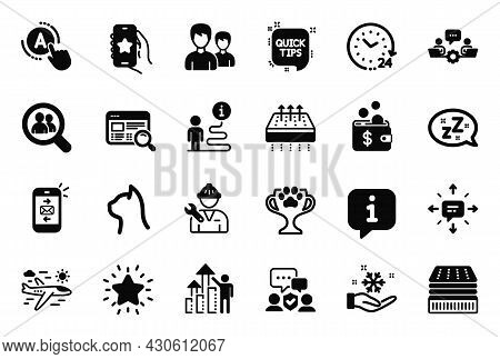 Vector Set Of Business Icons Related To Pets Care, Winner Cup And Security Agency Icons. Deluxe Matt