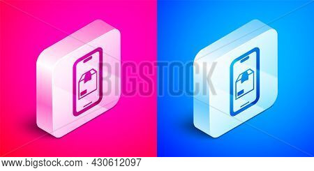 Isometric Mobile Smart Phone With App Delivery Tracking Icon Isolated On Pink And Blue Background. P