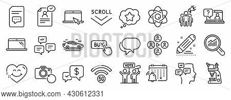 Set Of Technology Icons, Such As Brand Contract, Chat Messages, Brand Ambassador Icons. Car, Resume