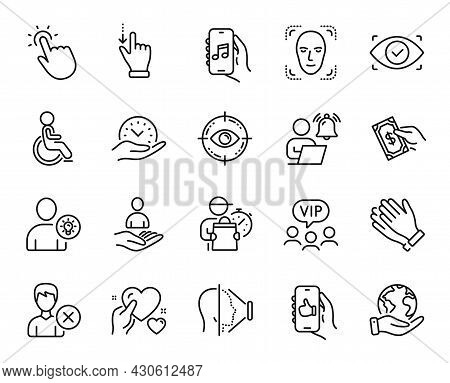 Vector Set Of Pay Money, Biometric Eye And Save Planet Line Icons Set. Clapping Hands, Music App And
