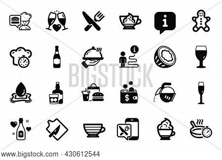 Vector Set Of Food And Drink Icons Related To Beer Glass, Champagne Glass And Fast Food Icons. Coffe