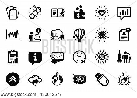 Vector Set Of Science Icons Related To Air Balloon, Resume Document And Capsule Pill Icons. Stock An