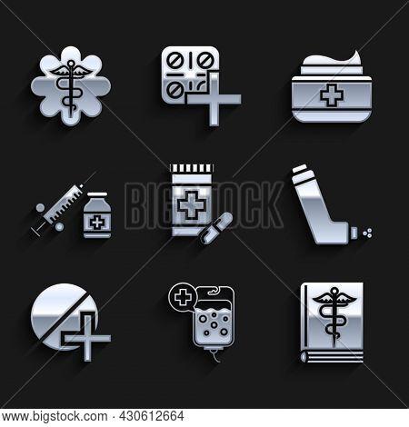 Set Medicine Bottle And Pills, Medical Book, Inhaler, Or Tablet, Syringe With Needle Vial Ampoule, O