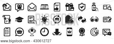 Set Of Simple Icons, Such As Parcel Invoice, Wish List, Manual Doc Icons. Light Bulb, Time, Victory
