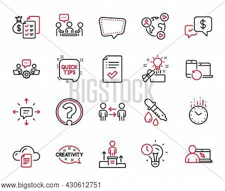 Vector Set Of Education Icons Related To Question Mark, Chemistry Pipette And Teamwork Business Icon