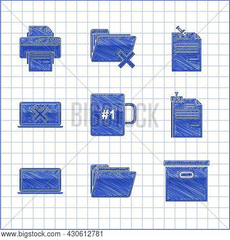 Set Coffee Cup, Document Folder, Carton Cardboard Box, File Document And Binder Clip, Laptop, Cross