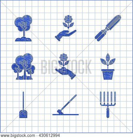 Set Hand Holding Flower, Garden Rake Work, Flowers Pot, Shovel, Trees, Gardening Handmade Scissors F