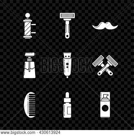 Set Classic Barber Shop Pole, Shaving Razor, Mustache, Hairbrush, Glass Bottle With Pipette, Gel Foa