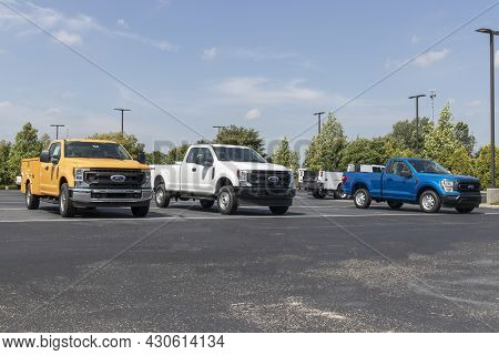 Indianapolis - Circa August 2021: Ford F-series Trucks Display. The Ford F-150, Super Duty F-250, F-