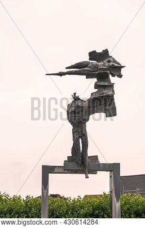 Gent, Flanders, Belgium - August 1, 2021: Modern Statue On Maria Hendrikaplein By Paul Van Gysegem I