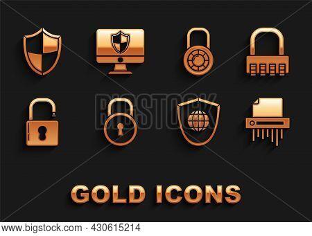 Set Lock, Safe Combination Lock, Paper Shredder Confidential, Shield With World Globe, Open Padlock,