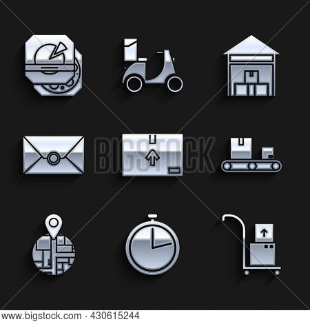 Set Cardboard Box With Traffic Symbol, Stopwatch, Hand Truck And Boxes, Conveyor Belt Cardboard, , E