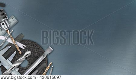 Tool Workbench Background, Locksmith Decorative Corner Composition. Craft Hand Metal Processing Work